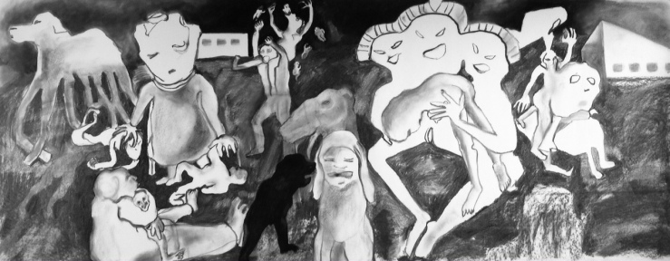 charcoal on paper,3.5ft by 9ft.