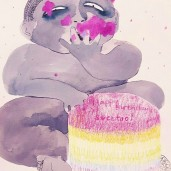 Smash Cake Baby, watercolour and pencil on paper, 30cm by 22cm, 2016