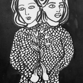 Close friendships, ink on paper. 20cm by 15cm, 2016