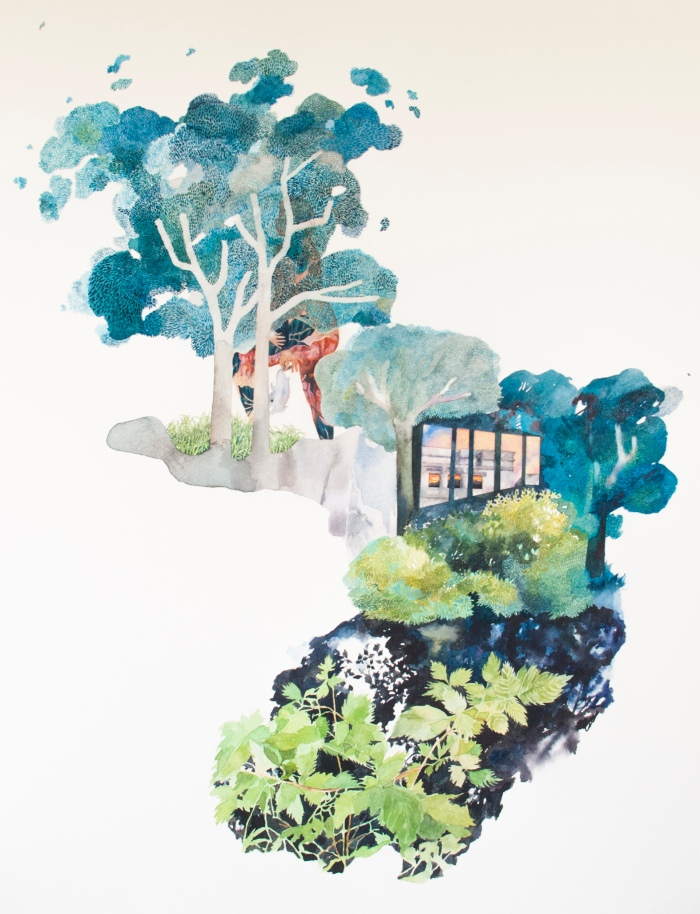 The Grass Could be Greener Everywhere, watercolour on paper, 22'' by 30'', 2018